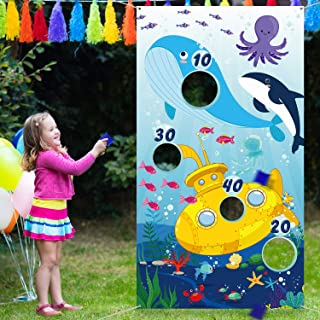 Ocean Animals Toss Game with 3 Bean Bags, Outdoor Indoor Ocean Party Game for Kids and Adults, Ocean Theme Party Decoratio...