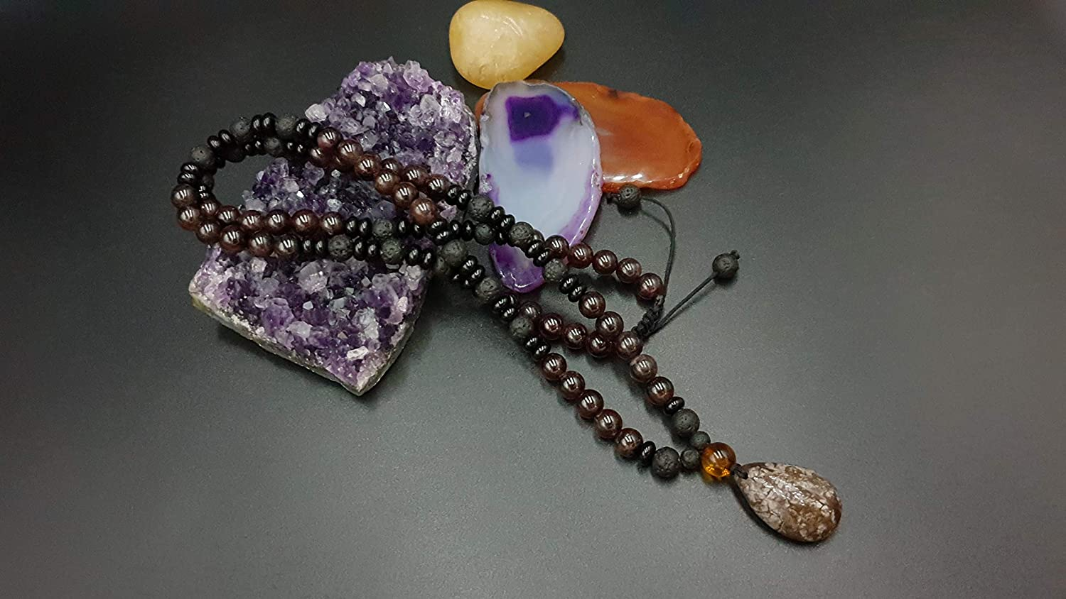 Max 78% OFF Jewelry Raleigh Mall Necklace Natural Stones Granet Lava Obsi and Onyx beads