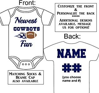 Personalized Custom Made Newest Cowboys Fan Football Gerber Onesie Jersey - Baby Announcement Reveal or Shower Gift
