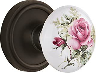 "Nostalgic Warehouse Classic Rosette with Rose Porcelain Door Knob, Mortise - 2.25"", Oil Rubbed Bronze"