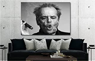 Jack Nicholson Smoking - Canvas Wall Art Framed Print (20in x 30in Framed)