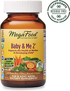 MegaFood, Baby & Me 2, Prenatal and Postnatal Vitamin, Dietary Supplement with Iron, Folate and Choline, Glyphosate Free, Gluten-Free, Vegetarian, 60 Tablets (30 Servings)