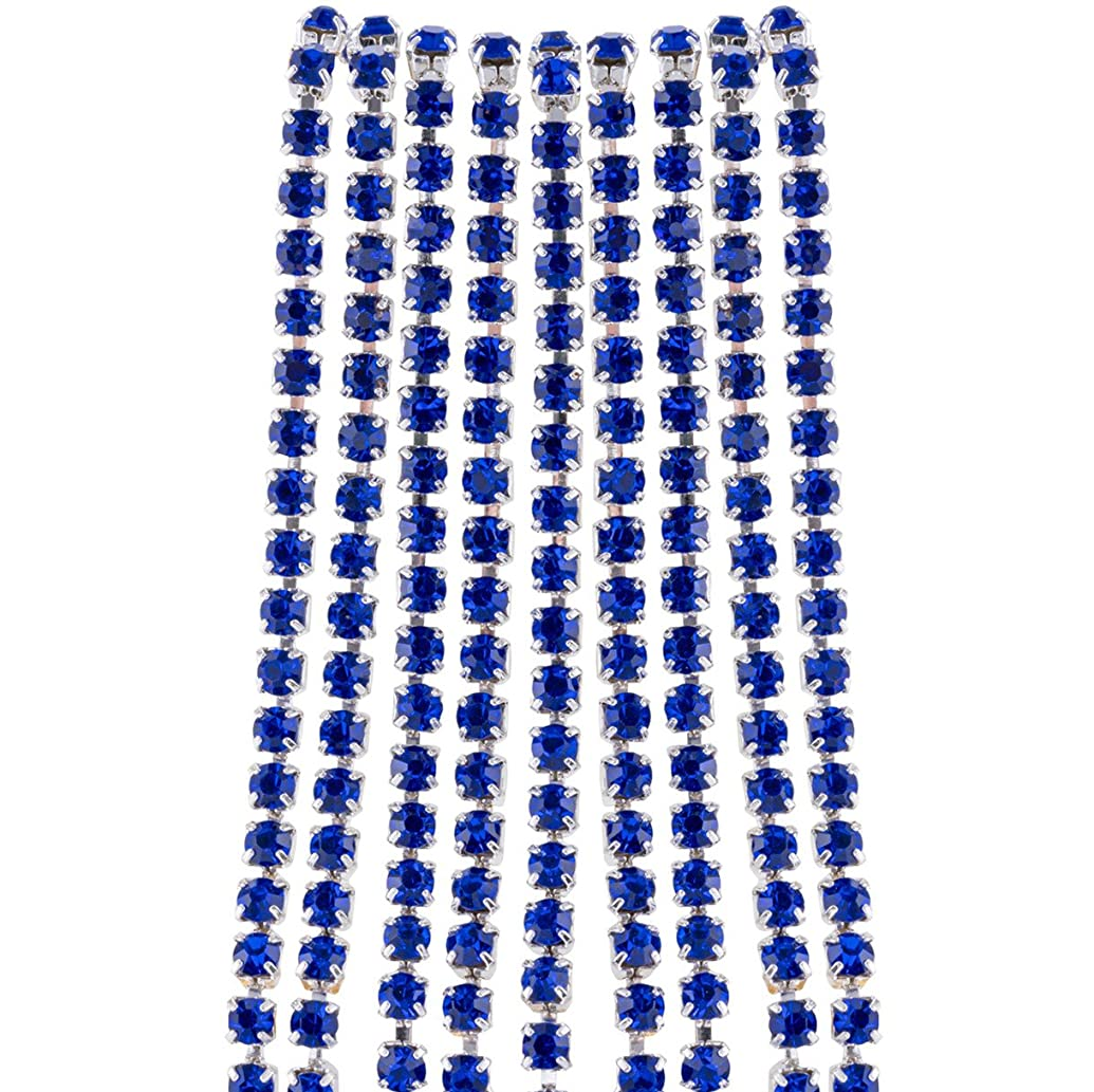 10 Yards Rhinestone Close Chain, Crystal Trimming Claw Chain for DIY Arts Craft Sewing Jewelry Making, Necklace, Bracelet, Shoes, Clothes, Bags, Weeding DIY Decoration (Silver Sapphire)