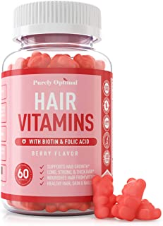 Premium Hair Vitamins Supplement - Gummy Vitamins w/ Biotin, Folic Acid, Vitamins A & D - Supports Faster Hair Growth and ...