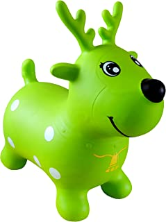 AppleRound Green Reindeer Bouncer with Hand Pump, Inflatable Space Hopper, Ride-on Bouncy Animal