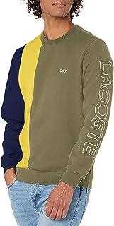 Men's Long Sleeve Thick Stripe Colorblock Wording Crewneck Sweatshirt