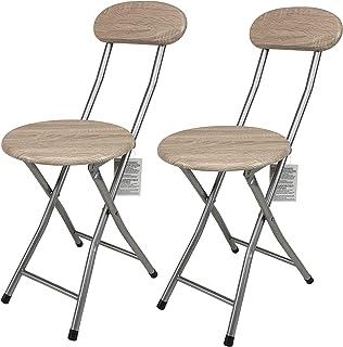 thesecrethome.es Silla Metal Plegable Base 2 uds Y Respaldo Mdera | diámetro 30cm x Alto 73cm | Silla Plegable Cocina Jardin Salon