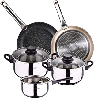 BERGNER INOX Cookware Set 5-Piece Stainless Steel and 2-Piece Set 20/30 Champagne, Forged Aluminium, Induction