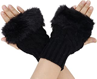 Women's Winter Faux Fur Knit Fingerless Hand Warmer Mitten Gloves