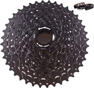 JGbike Sunrace 8 9 Speed MTB Cassette 11-40T Wide Ratio Including 22mm Extender - for SRAM Shimano-Type splined freehub Body
