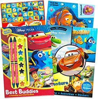 Disney Pixar Paint with Water and Coloring Book Set ~ 2 Deluxe Books Featuring Disney Cars, Toy Story, Finding Nemo and More (Includes 50 Pixar Stickers)