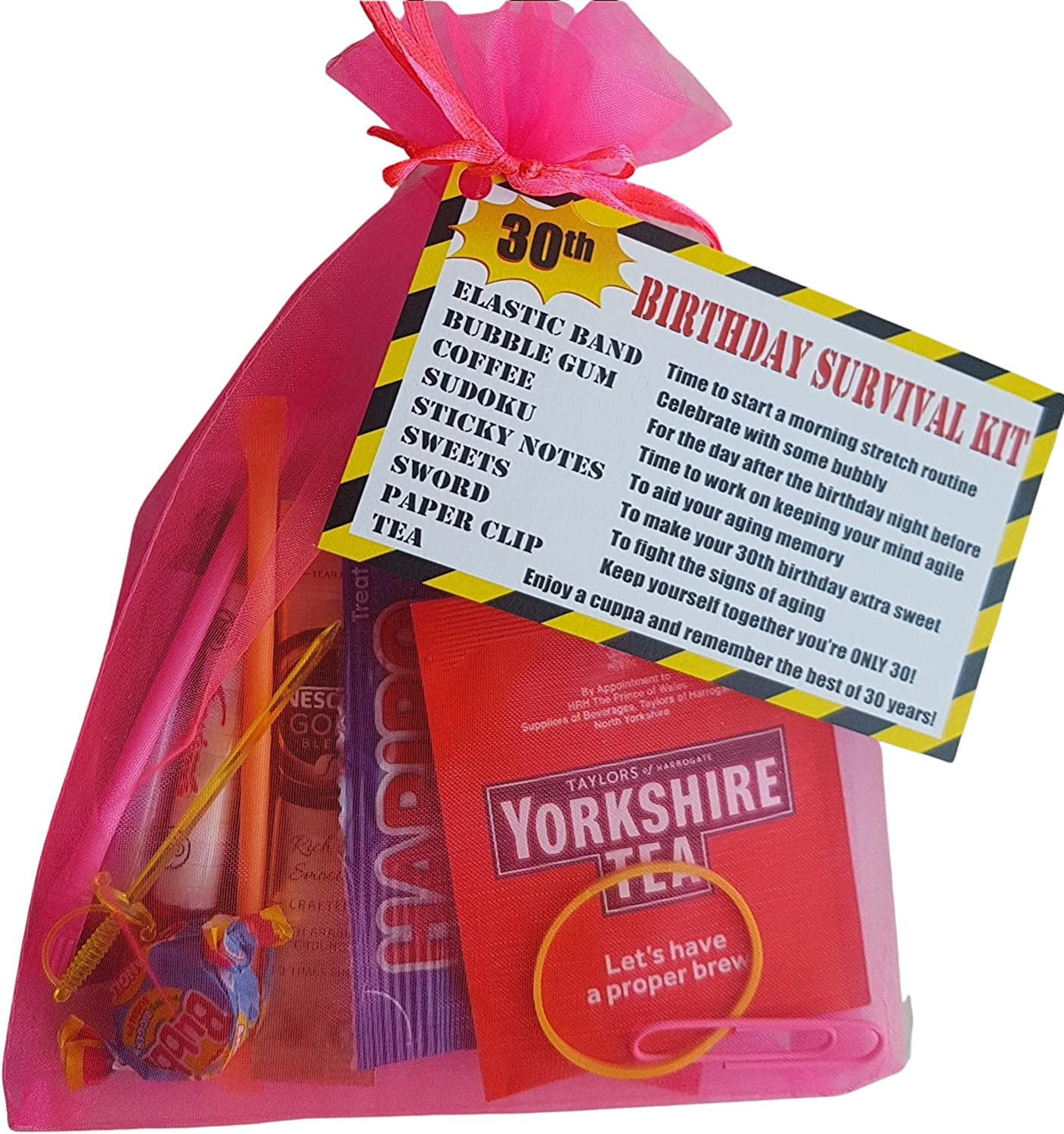 Pink 20th Birthday Survival KIT Gift/Present   a Fun Cheeky Gift to Make  Them Smile Birthday idea for Mum Sister Female Friend