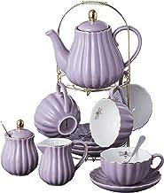 Jusalpha Fine China 8 OZ Purple Coffee Cup/Teacup, Saucer, Spoons, Teapot and Creamer set, 17-Pieces (FD-TW17PC SET, Purple)