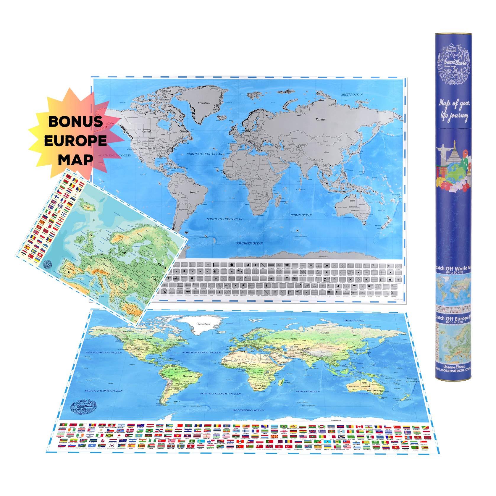 Póster grande de mapa del mundo para rascar (84 x 60 cm) con banderas de país + mapa de Europa para rascar 66 x 48 cm. Regalo perfecto para los viajeros.: Amazon.es: Oficina y papelería