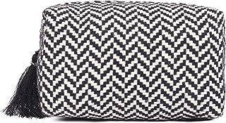 ASTRID black & white zigzag pattern woven makeup/Travel Pouch With Tassels (dark grey textured)