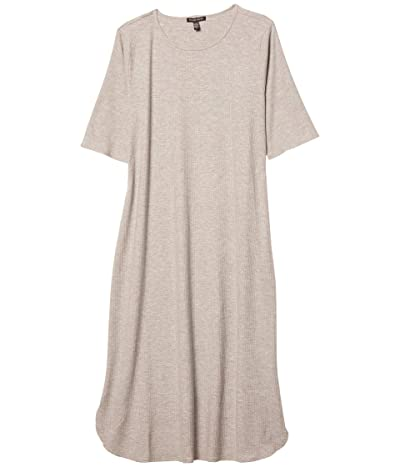 Eileen Fisher Crew Neck Calf Length Dress (Dark Pearl) Women