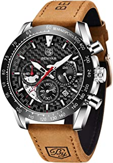 BY BENYAR BENYAR Men's Analog Chronograph Quartz Watch Waterproof with Leather Bracelet