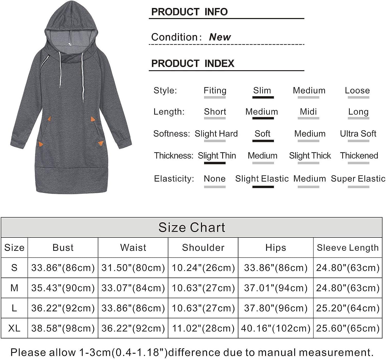 Kantenia Womens Hoodie Dress Long Sleeve Hooded Sweatshirt Tunic Bodycon Mini Fall Winter Dress Pullover with Pockets