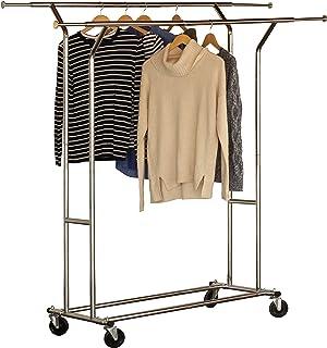 DecoBros Supreme Commercial Grade Double Rail Garment Rolling Rack, Chrome Finish