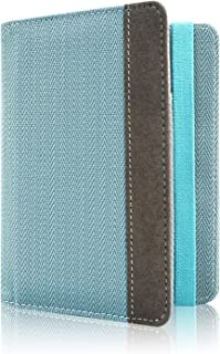 Passport Holder Cover, ACdream Travel Leather RFID Blocking Cover Case Wallet for Passport with Elastic Band Closure, (Twill-Blue)