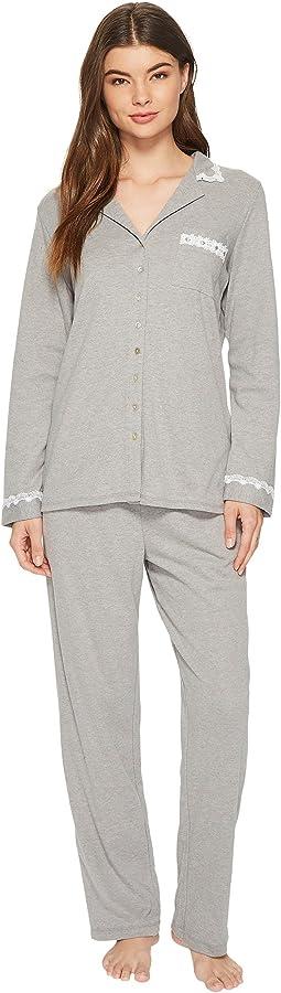 Eileen West - Heather Interlock Notch Collar Pajama