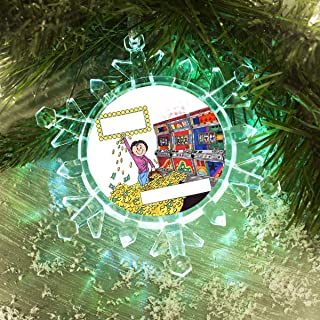 PrintedPerfection.com Personalized Friendly Folks Cartoon Lighted Snowflake Christmas Ornament: Slot Machine, Jackpot Winner, Gambler - Female