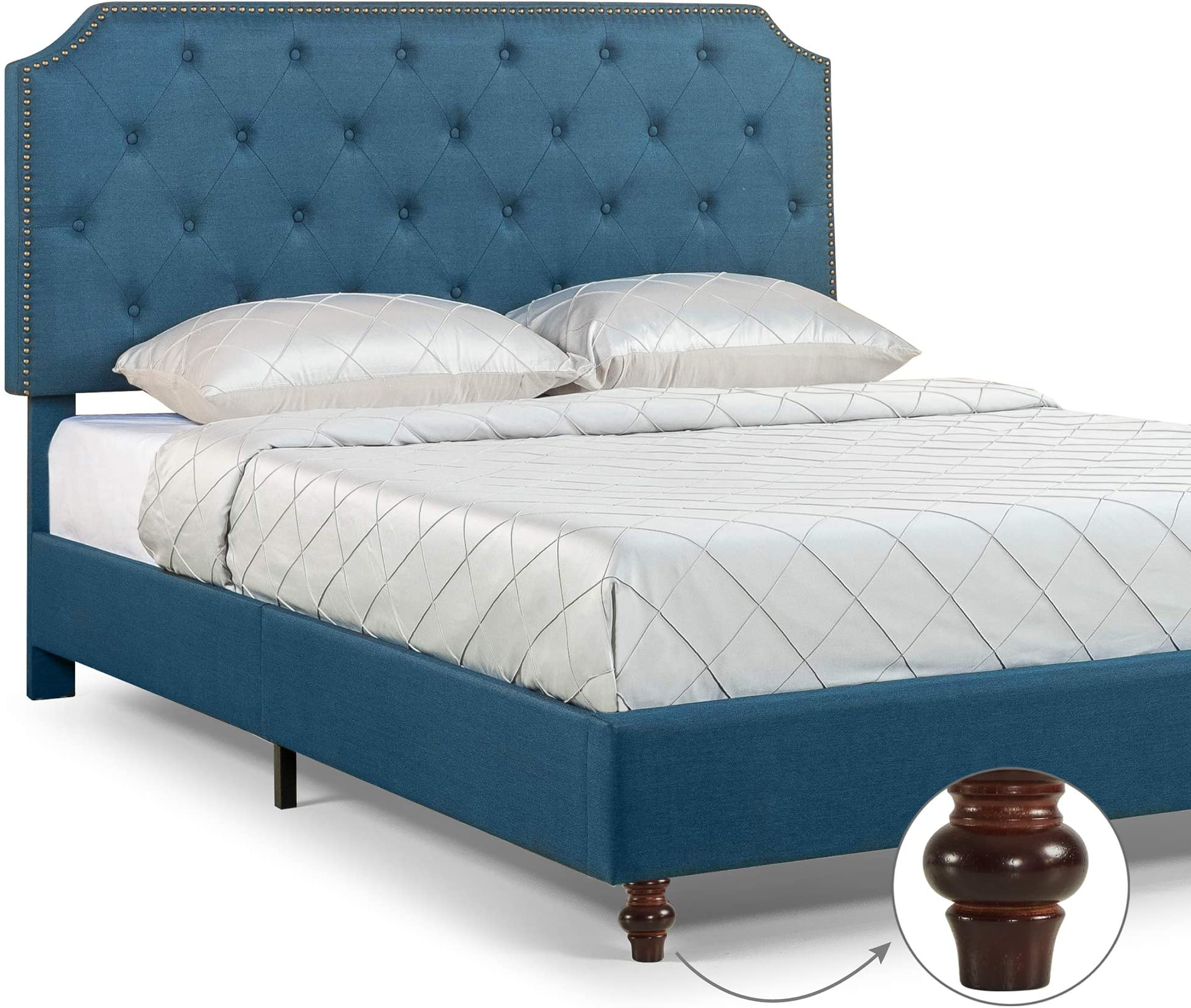 ZINUS Andover Upholstered Bed Frame / Tufted Bed Frame with Nailhead Detail / Adjustable Headboard / Easy Assembly, King