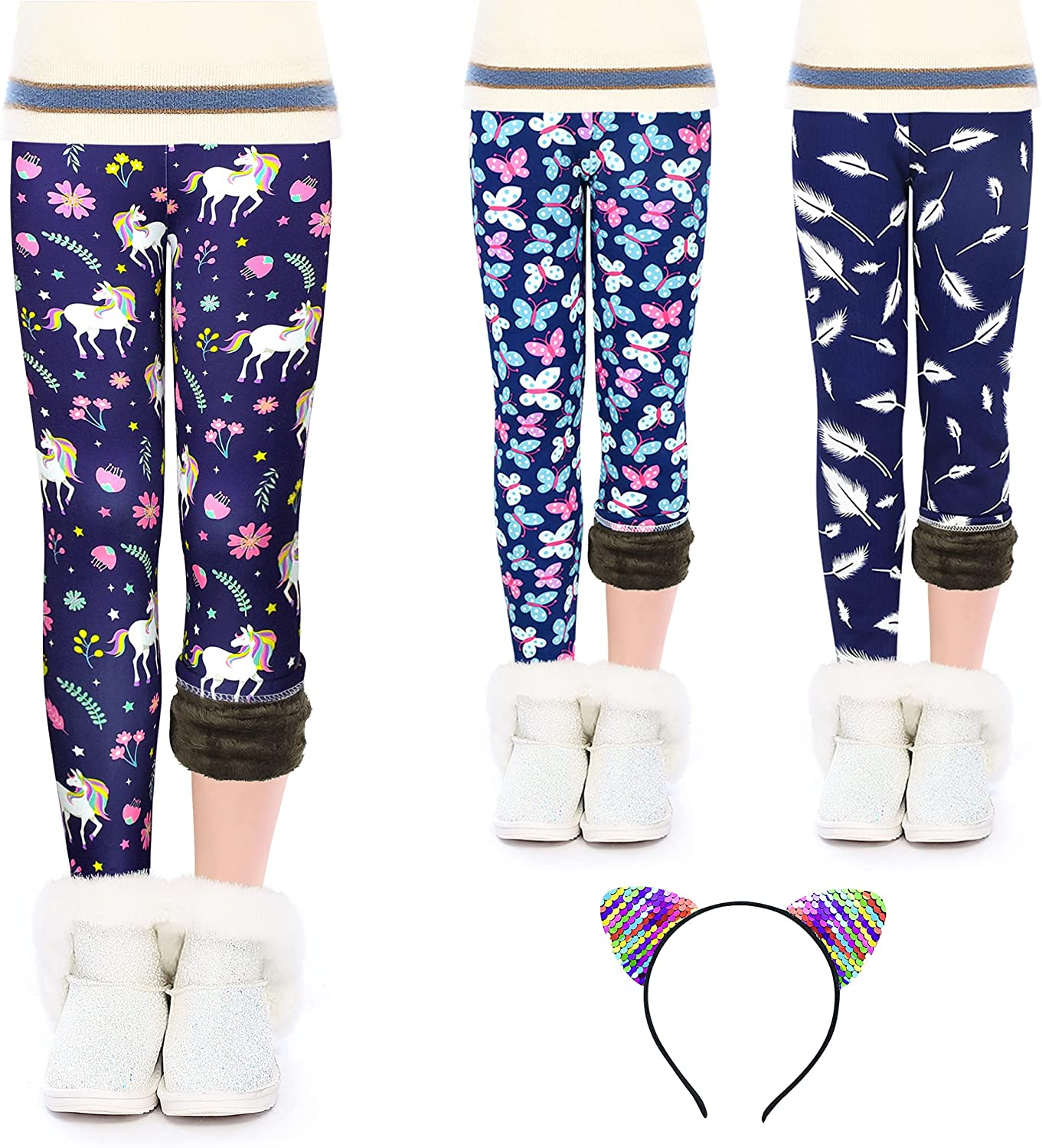 slaixiu Cheap mail order specialty store Warm Girls Max 67% OFF Leggings Fleece Printing K Thick Lined Winter