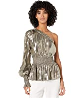 ML Monique Lhuillier - One Sleeve Smocked Waist Metallic Top