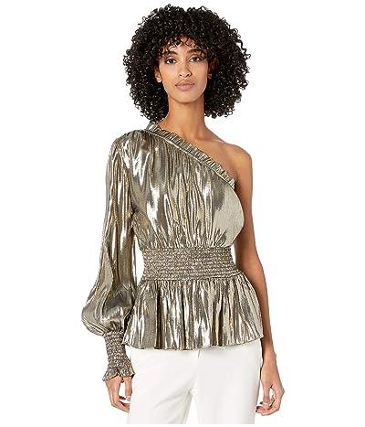 ML Monique Lhuillier One Sleeve Smocked Waist Metallic Top (Gold Metallic) Women