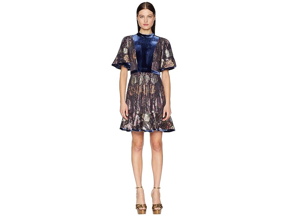 Rebecca Taylor Short Sleeve Clip Velvet Dress (Shadow Combo) Women