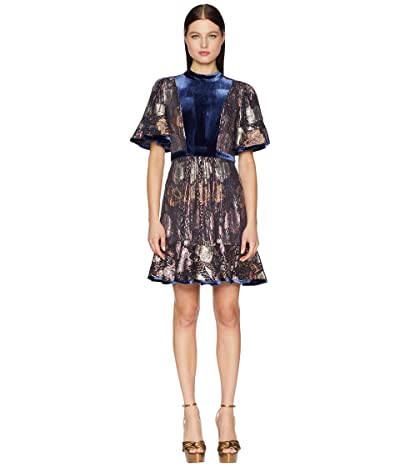 Rebecca Taylor Short Sleeve Clip Velvet Dress (Shadow Combo) Women