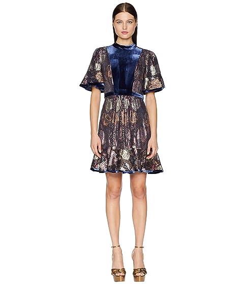 Rebecca Taylor Short Sleeve Clip & Velvet Dress