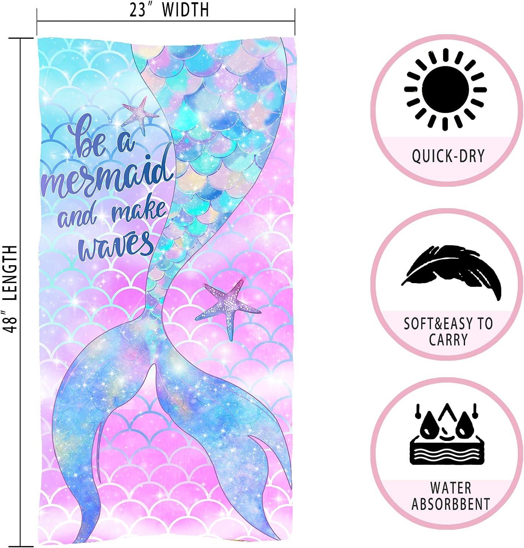 Hexagram Little Mermaid Beach Towel,Fantasy Mermaid Wave Microfiber Small Kids Beach Towels for Girls,Quick Dry Girls Bath Towel 23x48 Blanket