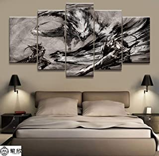 AIXYX Wall Art Poster Painting Modular Pictures for Living Room Decorative Pictures Canvas Printed 5 Panel Game Monster Hunter Loong-D
