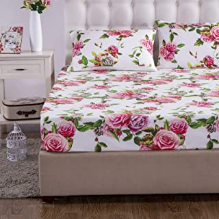 DaDa Bedding Romantic Roses Fitted Sheet - Lovely Spring Pink Floral Colorful - Bright Vibrant w/Pillow Cases Set - King - 3-Pieces