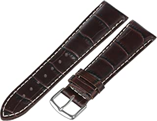 Hadley-Roma Men's MSM834RA-180 18-mm Black Genuine Italian Calfskin Leather Watch Strap