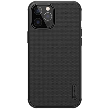 """Nillkin Case for Apple iPhone 12 / iPhone 12 Pro (6.1"""" Inch) Super Frosted Shield Pro Hard Back Soft Border (PC + TPU) Shock Absorb Cover Raised Bezel Camera Protect PC Without Logo Cut Black"""