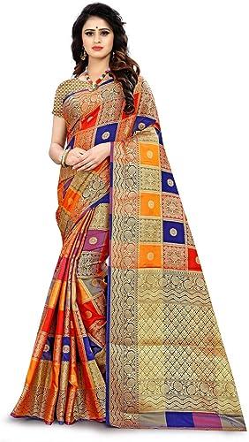 Rivana Fashion Women's Zari Woven Banarasi Style Patola Silk Sari With Blouse Piece (Multicolor)
