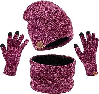 Petrunup Cappello Sciarpa e Guanti Touch Screen Uomo Invernali Berretto in Maglia con Sciarpa Beanie Collo della Ciarpa 3/...