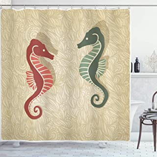 Ambesonne Seahorses Nautical Shower Curtain, Graphic Colorful Beach Coral Reef Vintage Design Print, Cloth Fabric Bathroom Decor Set with Hooks, 70