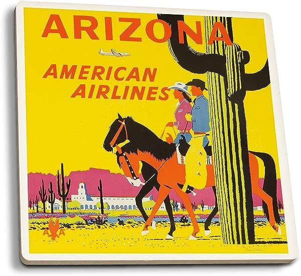 Lantern Press American Airlines Arizona Artist Ludekun USA C 1955 Vintage Advertisement Set Of 4 Ceramic Coasters Cork Backed Absorbent