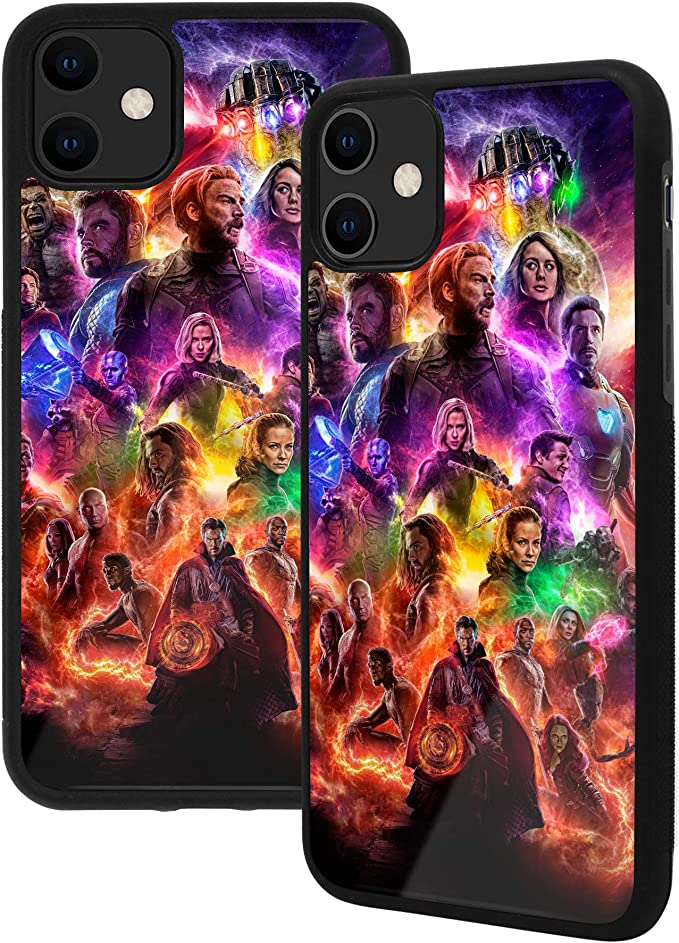 iPhone 7/8 Case, Popular Movies, Premium Tempered Glass Back Phone Case [Shock Absorption] Soft Rubber Frame with Grip (iPhone 7/8, Avengers Endgame)