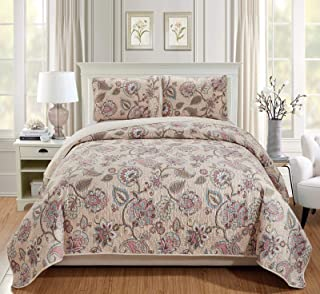 Luxury Home Collection Quilted Reversible Coverlet Bedspread Set Floral Printed Beige Pink Blue #Hilton, King/Cal King