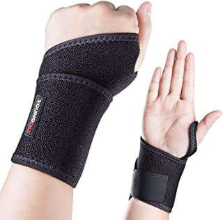 """YOUNGDO Sports Wrist Brace, 5-7"""" Adjustable Wrist Support Wraps Thumb Loops Men & Women, Ideal Tennis Basketball Badminton Volleyball Cycling Gym Fitness (1 Pair)"""