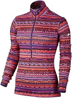 Nike Womens Dri-Fit Pro Warm 8 Bit 1/2 Zip Training Shirt-Purple/Red