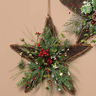 Rustic Twig Star Wreath with Christmas Greenery and Berries for Front Door - Hanging Holiday Decoration (Red Bell)