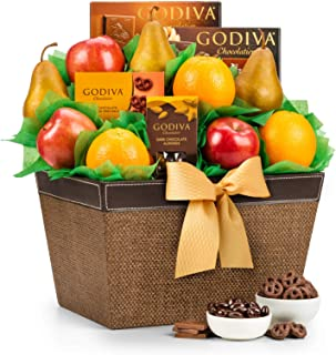 GiftTree Fresh Fruit & Godiva Chocolate Gift Basket | Includes Gourmet Chocolates and Confections from Godiva | Fresh Pears, Crisp Apples, Juicy Oranges in a Reusable Container