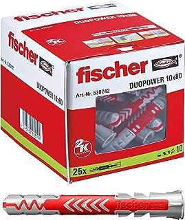 fischer DUOPOWER 10 x 80-universele pluggen voor het bevestigen van hangkasten, wandplanken in beton, metselwerk, plaatbou...