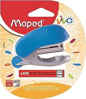 MAPED Vivo Mini Agrafeuse pour Agrafes 24/6 Ou 26/6 avec ôte-agrafes Intégré, Livré avec Une Boite de 400 Agrafes - Colori...